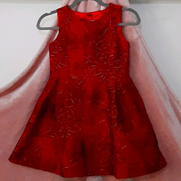 Girls Formal Red Dress embroidered